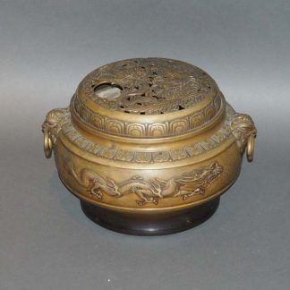 Chinese Antique Incense Burner, bronze dragon and phoenix censer
