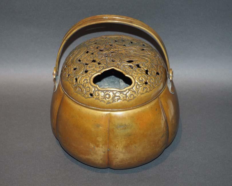 Japanese Antique Copper Hand Warmer Incense Burner Kuraya