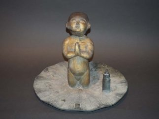 Japanese Bronze Baby Buddha Statue Standing On the Lotus Leaf