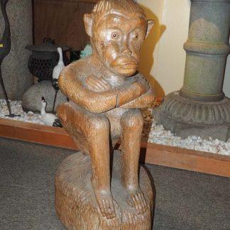Japanese Wood Carved Saru Sitting Monkey