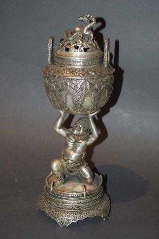 Japanese Incense Burner Censer With Dragon & Oni Statue Koro