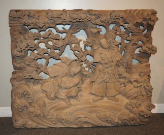 Japanese Antique Wood Carving of Empress Jingu (Her son Ojin was born following her return.)