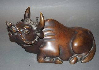 Japanese Copper Bull Statue