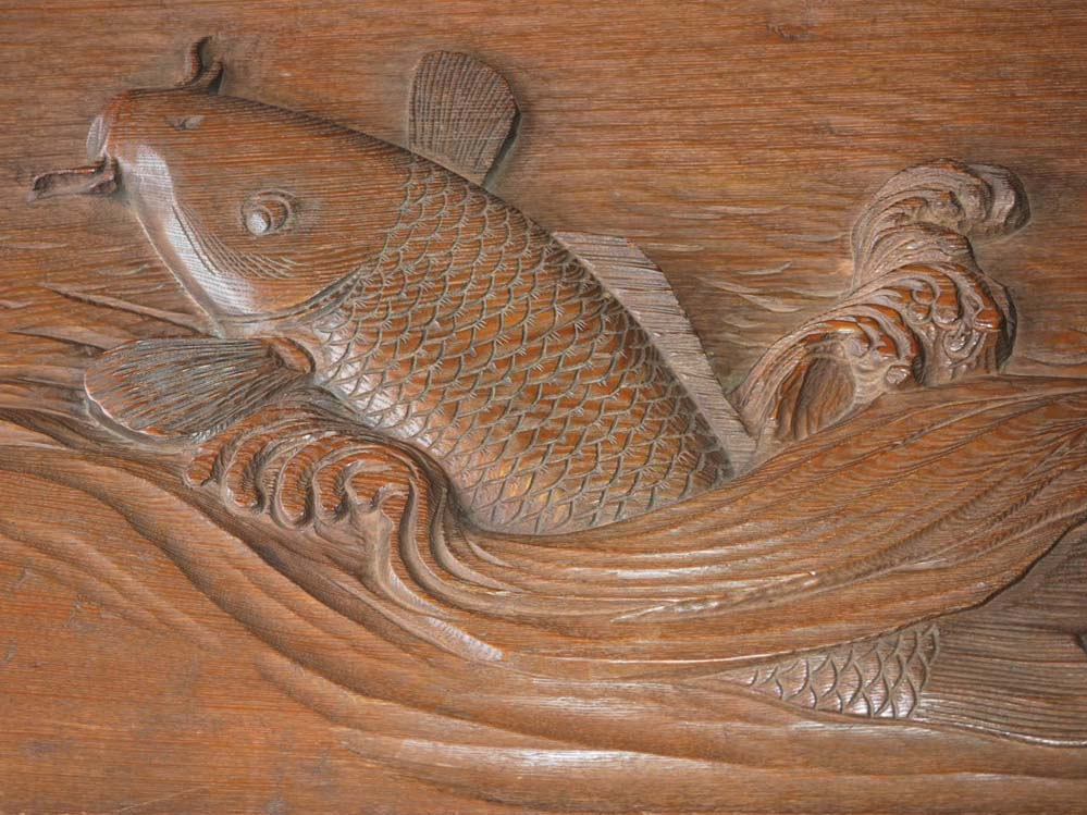 Japanese Wood Carved Koi Fish Jumping Out Of Wave Wall