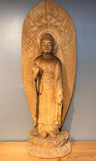 Japanese Carved Wood Amida Buddha Figure