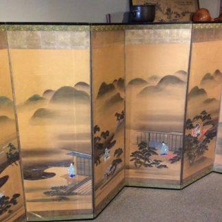 Japanese Antique Six Panels Byobu Screen