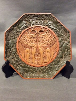 Chinese Antique Cinnabar Lacquer Tray with Foo Dogs