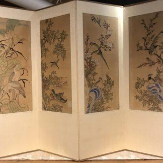 Japanese Antique 4 Panels Byobu Screen