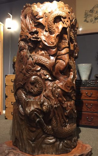Japanese Antique Beautiful Dragon Wood Carving Okimono