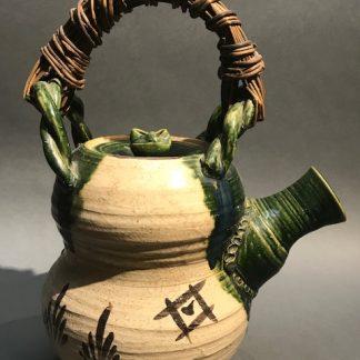 Lovely Japanese Oribe Ceramic Tea Pot