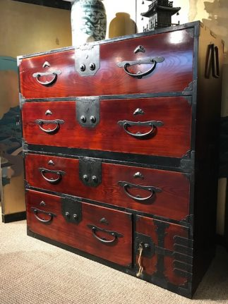 Japanese Antique Lacquer Nihonmatsu Isho Tansu Clothing Chest