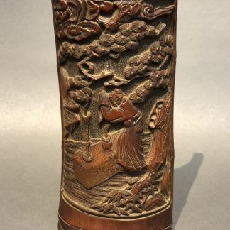 Chinese Antique bamboo Carving Okimono