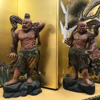 A Pair Of Japanese Hardwood Nio (Niwo) Statue