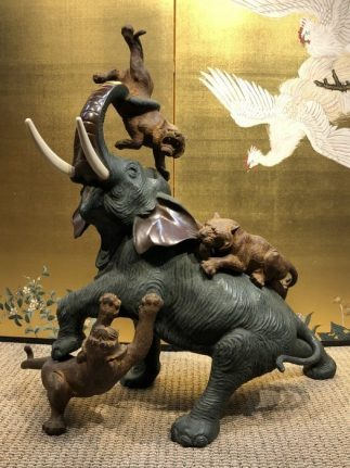 A Wonderful Japanese Large Bronze Okimono Elephant with Tigers