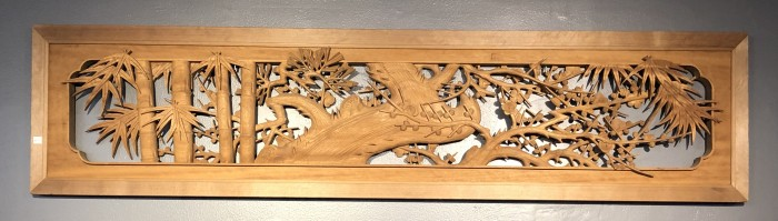 Japanese Antique Ranma (Transom) Wooden Panel With Openwork Carving