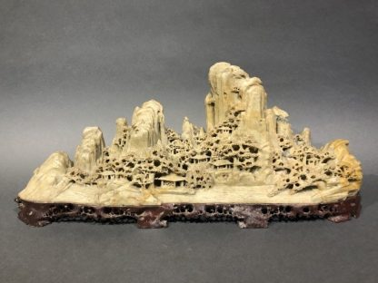 Chinese Carved Soap-Stone of the Landscape With Mountain