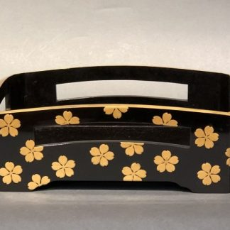 A Pretty Japanese Lacquer Tray With Makie