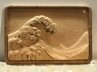 Beautiful Kanazawa Wave, Japanese Wood Carving Ukiyoe