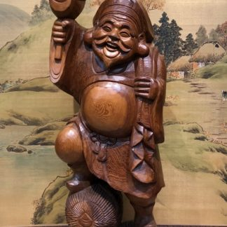 Japanese Wood Carving Daikoku Happy Buddha Okimono