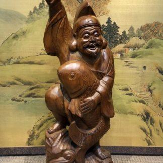 Japanese Wood Carving Ebisu Happy Buddha Okimono