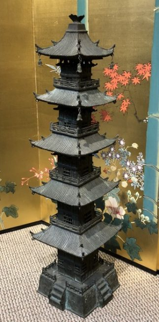 Japanese Antique Bronze Tower Pagoda